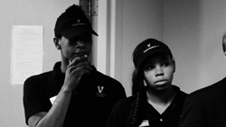 Vanderbilt dining workers listening to a speech